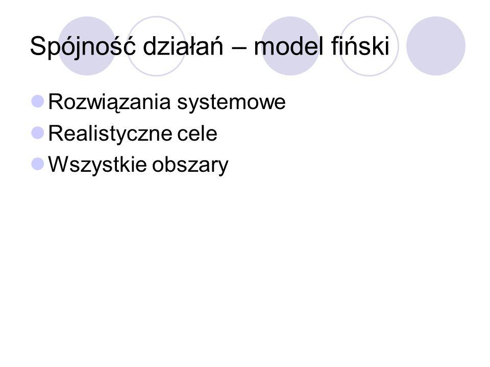 Spójność działań – model fiński Rozwiązania systemowe Realistyczne cele Wszystkie obszary