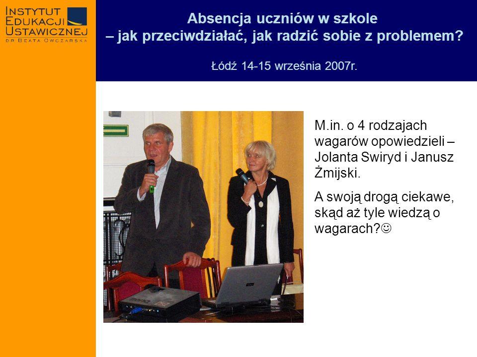 Absencja uczniów w szkole – jak przeciwdziałać, jak radzić sobie z problemem? Łódź 14-15 września 2007r. M.in. o 4 rodzajach wagarów opowiedzieli – Jo
