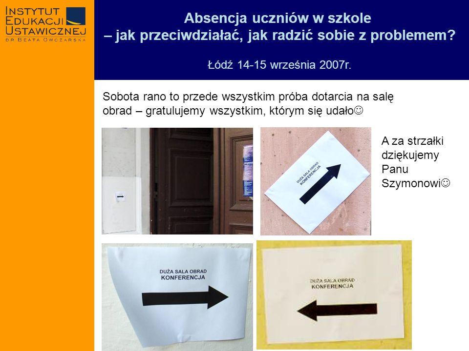 Absencja uczniów w szkole – jak przeciwdziałać, jak radzić sobie z problemem? Łódź 14-15 września 2007r. Sobota rano to przede wszystkim próba dotarci