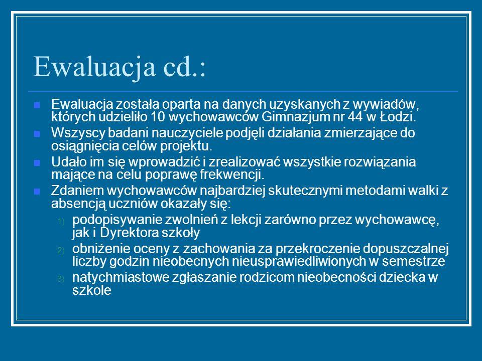 Ewaluacja cd.: Ewaluacja została oparta na danych uzyskanych z wywiadów, których udzieliło 10 wychowawców Gimnazjum nr 44 w Łodzi. Wszyscy badani nauc