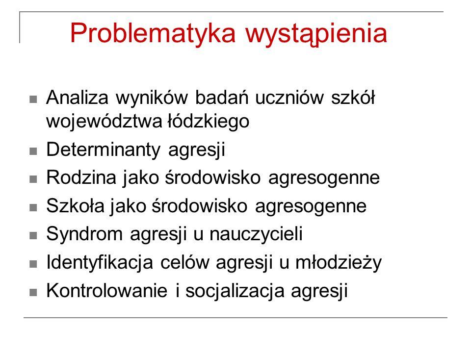 Problematyka wystąpienia Analiza wyników badań uczniów szkół województwa łódzkiego Determinanty agresji Rodzina jako środowisko agresogenne Szkoła jak