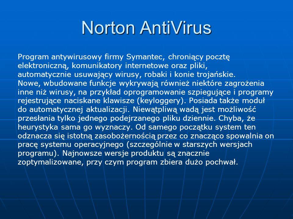 Program antywirusowy firmy Symantec, chroniący pocztę elektroniczną, komunikatory internetowe oraz pliki, automatycznie usuwający wirusy, robaki i konie trojańskie.