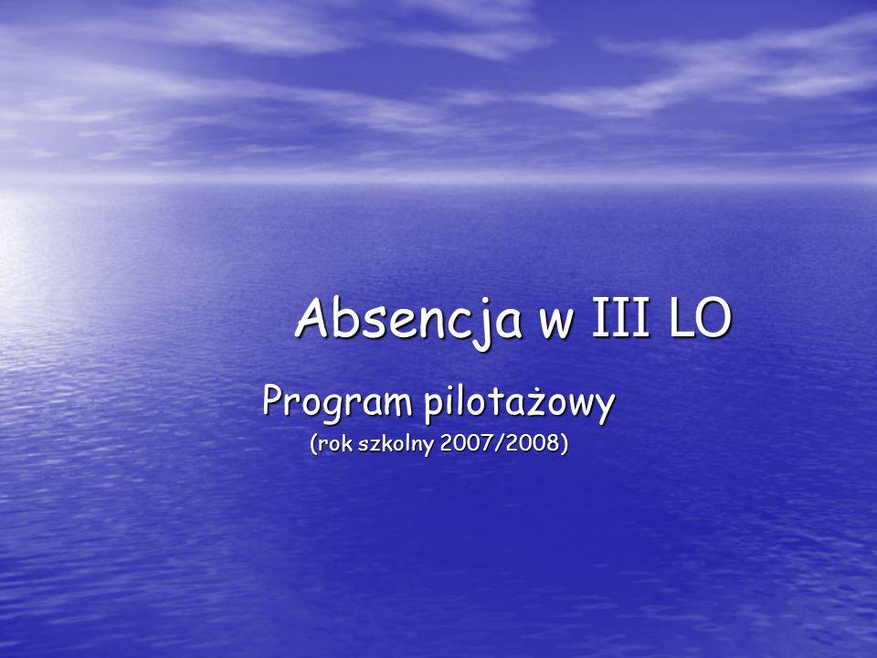 Absencja w III LO Program pilotażowy (rok szkolny 2007/2008)