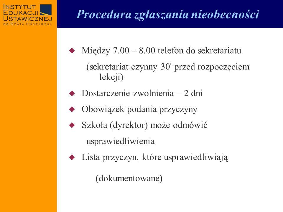 Procedura zgłaszania nieobecności Między 7.00 – 8.00 telefon do sekretariatu (sekretariat czynny 30' przed rozpoczęciem lekcji) Dostarczenie zwolnieni