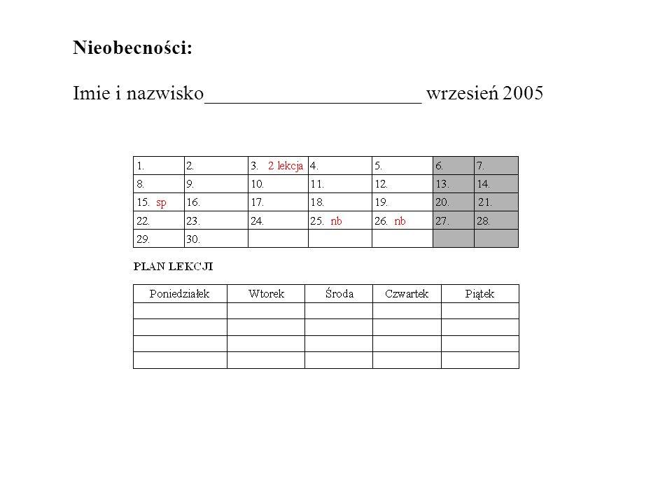 Nieobecności: Imie i nazwisko_____________________ wrzesień 2005