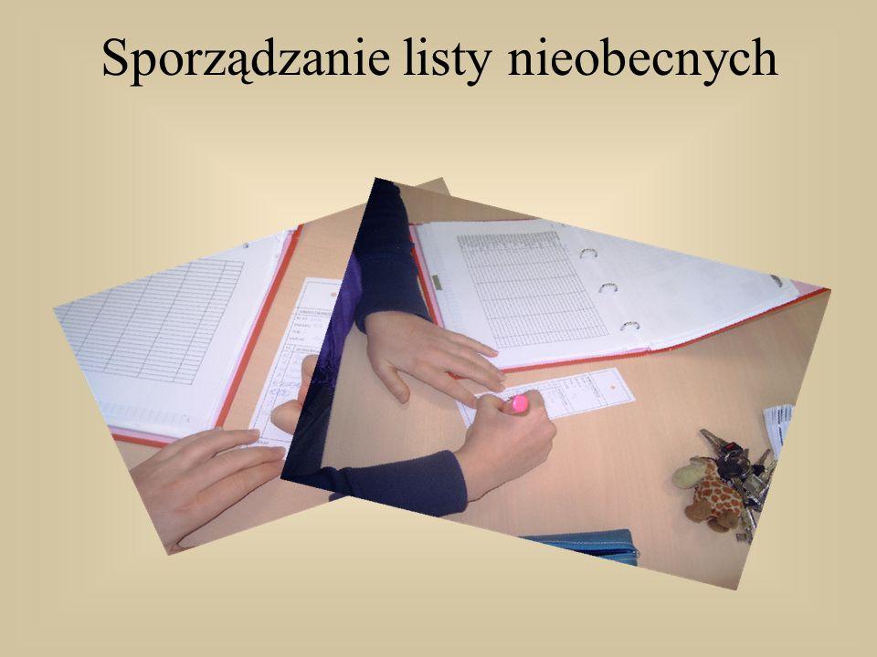 Sporządzanie listy nieobecnych