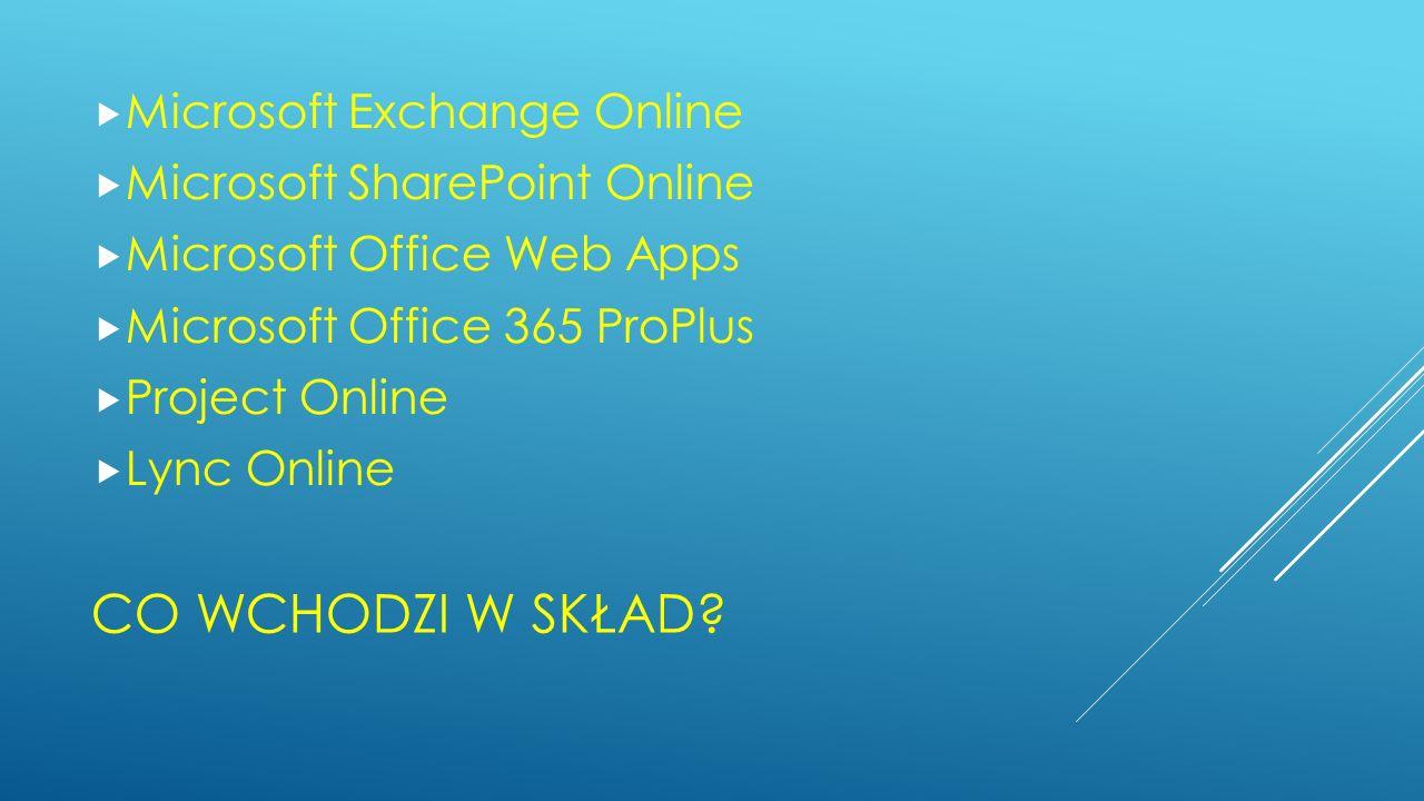 CO WCHODZI W SKŁAD? Microsoft Exchange Online Microsoft SharePoint Online Microsoft Office Web Apps Microsoft Office 365 ProPlus Project Online Lync O