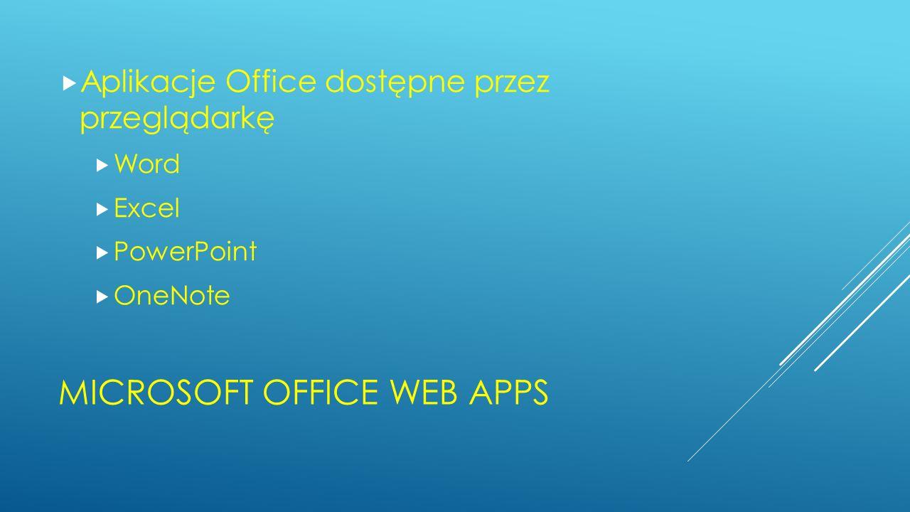 MICROSOFT OFFICE WEB APPS Aplikacje Office dostępne przez przeglądarkę Word Excel PowerPoint OneNote