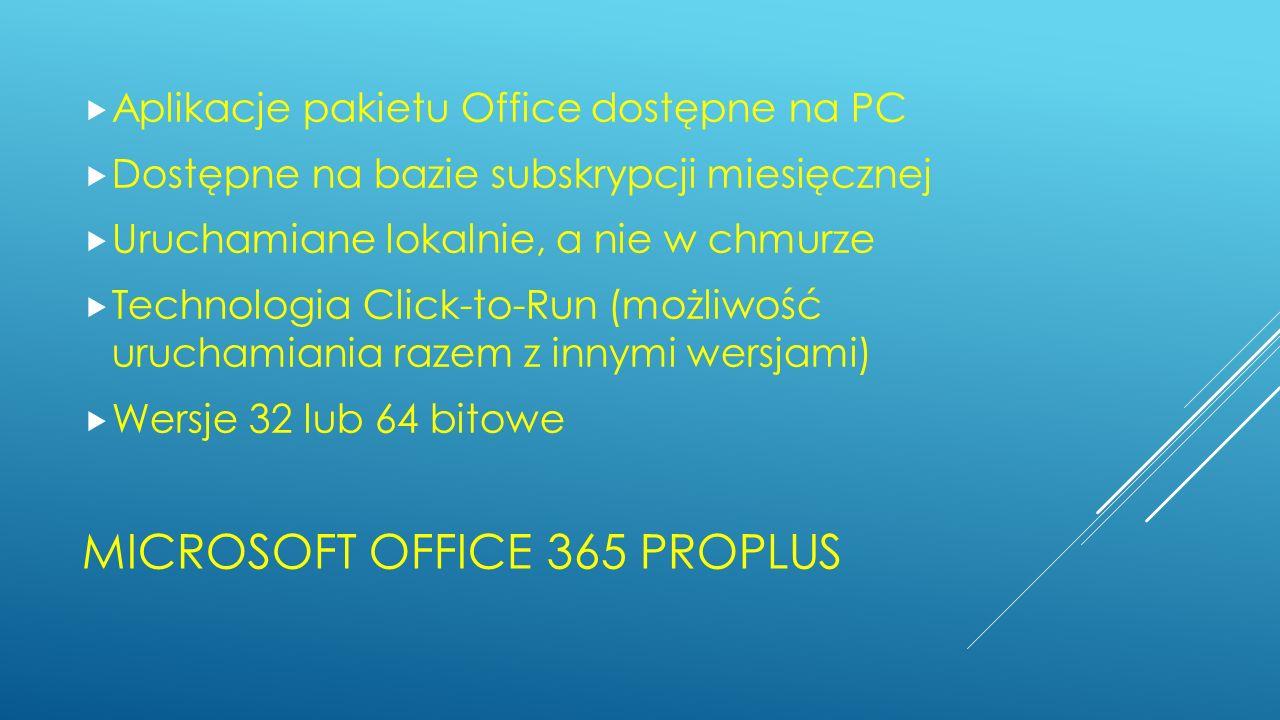 MICROSOFT OFFICE 365 PROPLUS Aplikacje pakietu Office dostępne na PC Dostępne na bazie subskrypcji miesięcznej Uruchamiane lokalnie, a nie w chmurze T