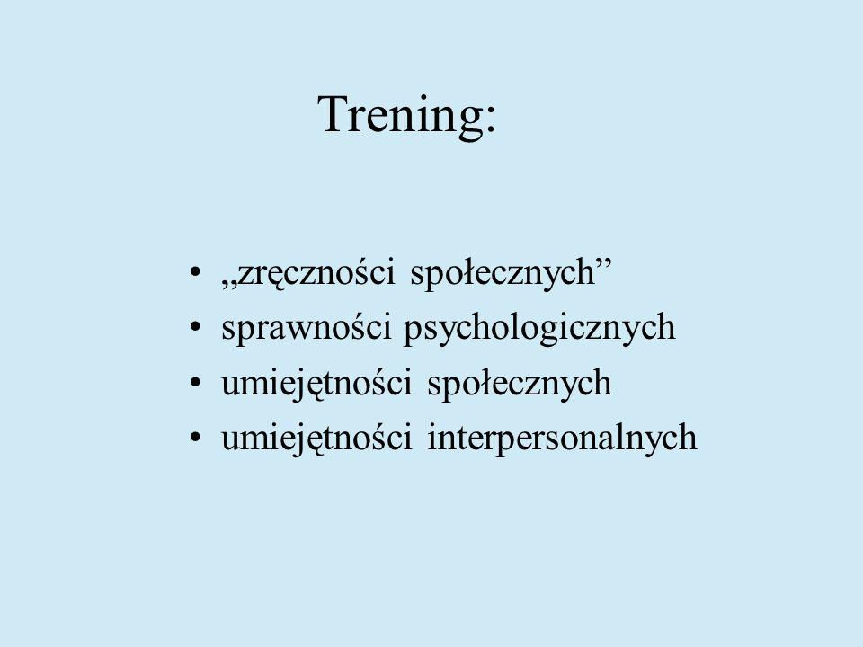 Trening: zręczności społecznych sprawności psychologicznych umiejętności społecznych umiejętności interpersonalnych