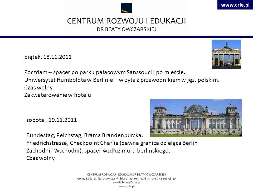 www.crie.pl piątek, 18.11.2011 Poczdam – spacer po parku pałacowym Sanssouci i po mieście.