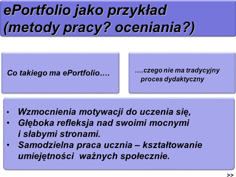 ePortfolio jako przykład (metody pracy? oceniania?) >> Co takiego ma ePortfolio…. Wzmocnienia motywacji do uczenia się, Głęboka refleksja nad swoimi m