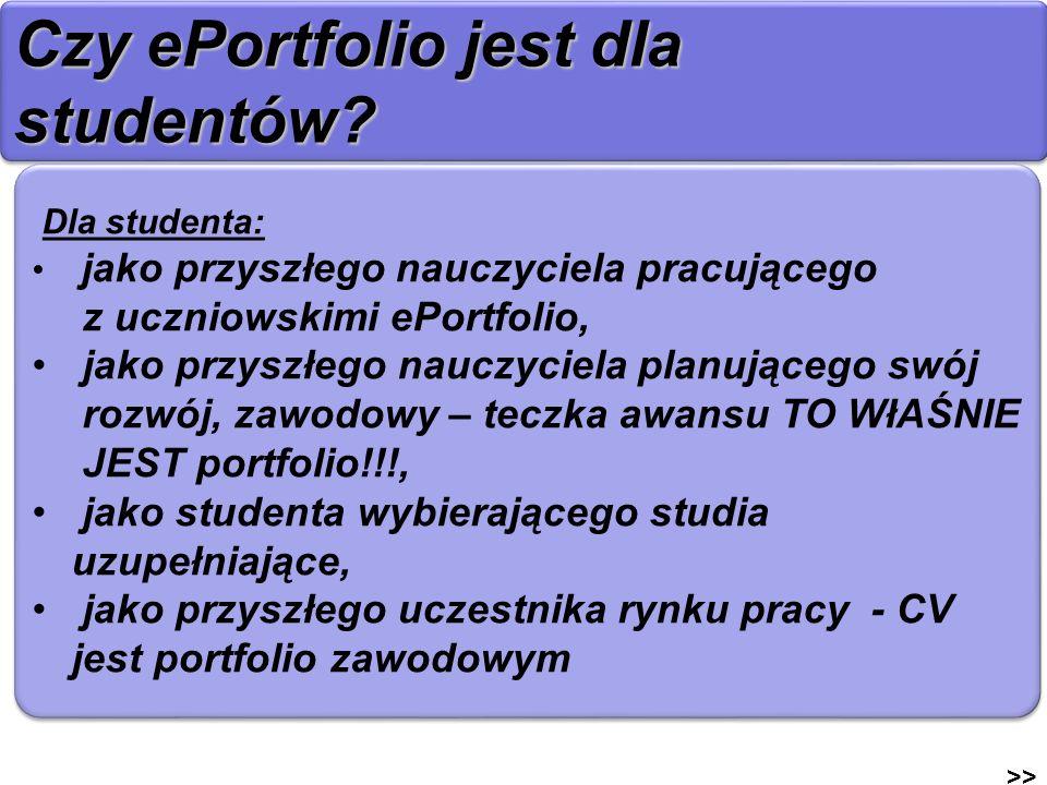 Czy ePortfolio jest dla studentów? >> Dla studenta: jako przyszłego nauczyciela pracującego z uczniowskimi ePortfolio, jako przyszłego nauczyciela pla
