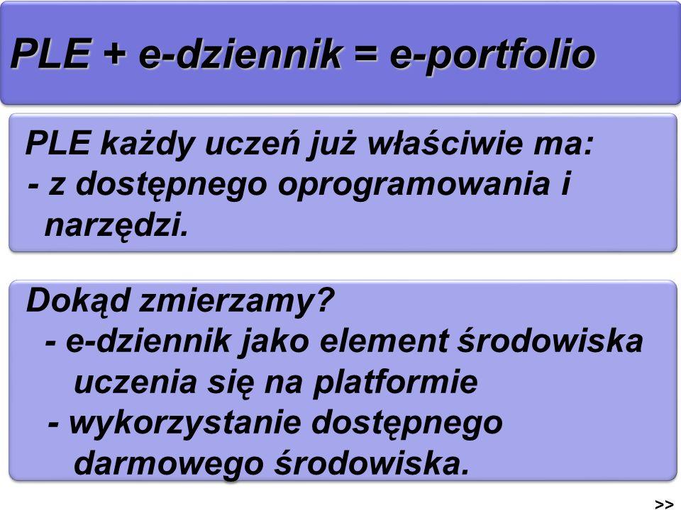 PLE + e-dziennik = e-portfolio >> PLE każdy uczeń już właściwie ma: - z dostępnego oprogramowania i narzędzi. PLE każdy uczeń już właściwie ma: - z do