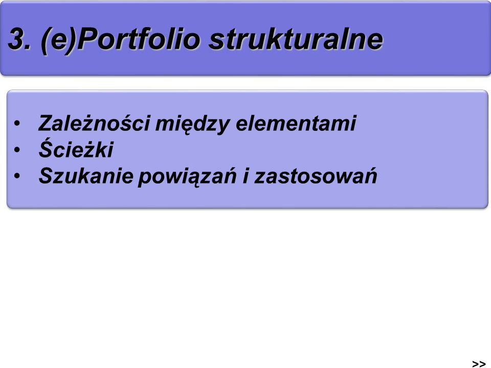 3. (e)Portfolio strukturalne >> Zależności między elementami Ścieżki Szukanie powiązań i zastosowań Zależności między elementami Ścieżki Szukanie powi