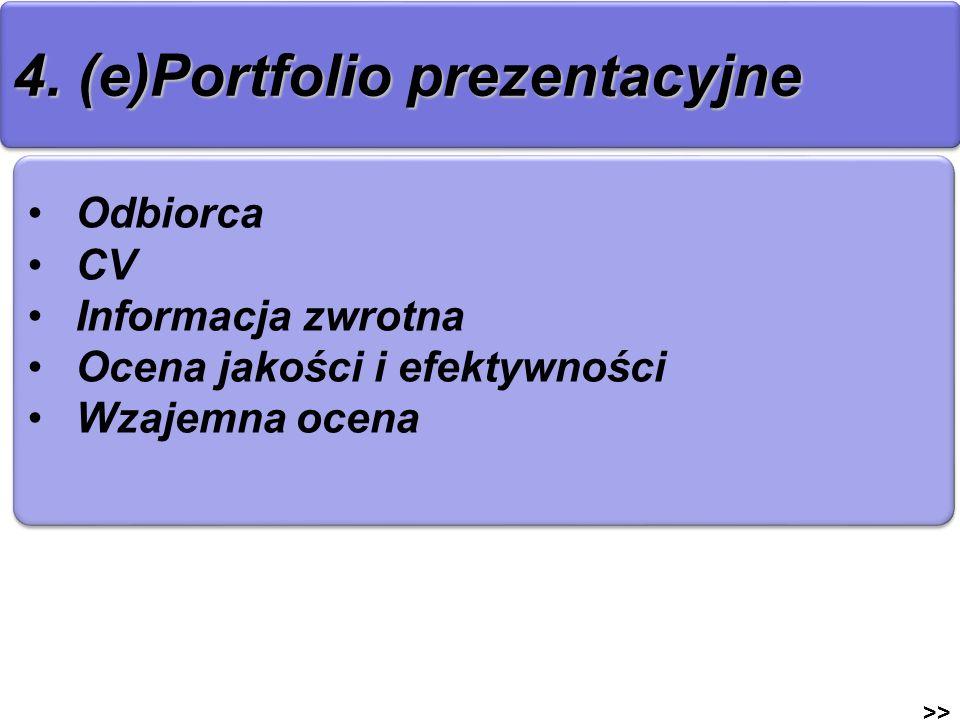 4. (e)Portfolio prezentacyjne >> Odbiorca CV Informacja zwrotna Ocena jakości i efektywności Wzajemna ocena Odbiorca CV Informacja zwrotna Ocena jakoś