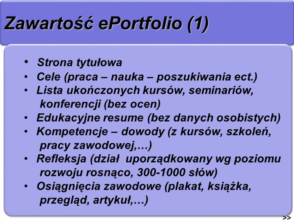 Zawartość ePortfolio (1) >> Strona tytułowa Cele (praca – nauka – poszukiwania ect.) Lista ukończonych kursów, seminariów, konferencji (bez ocen) Eduk