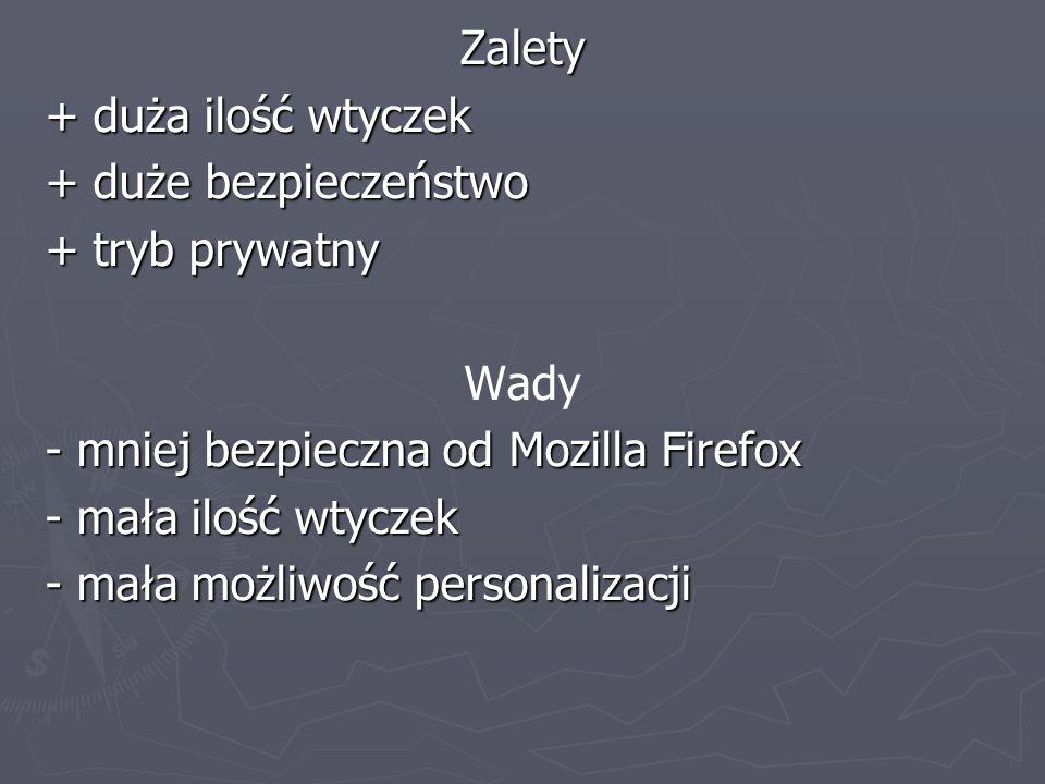 Zalety + duża ilość wtyczek + duże bezpieczeństwo + tryb prywatny Wady - mniej bezpieczna od Mozilla Firefox - mała ilość wtyczek - mała możliwość per