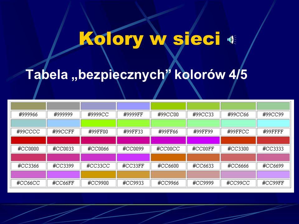 Kolory w sieci Tabela bezpiecznych kolorów 3/5