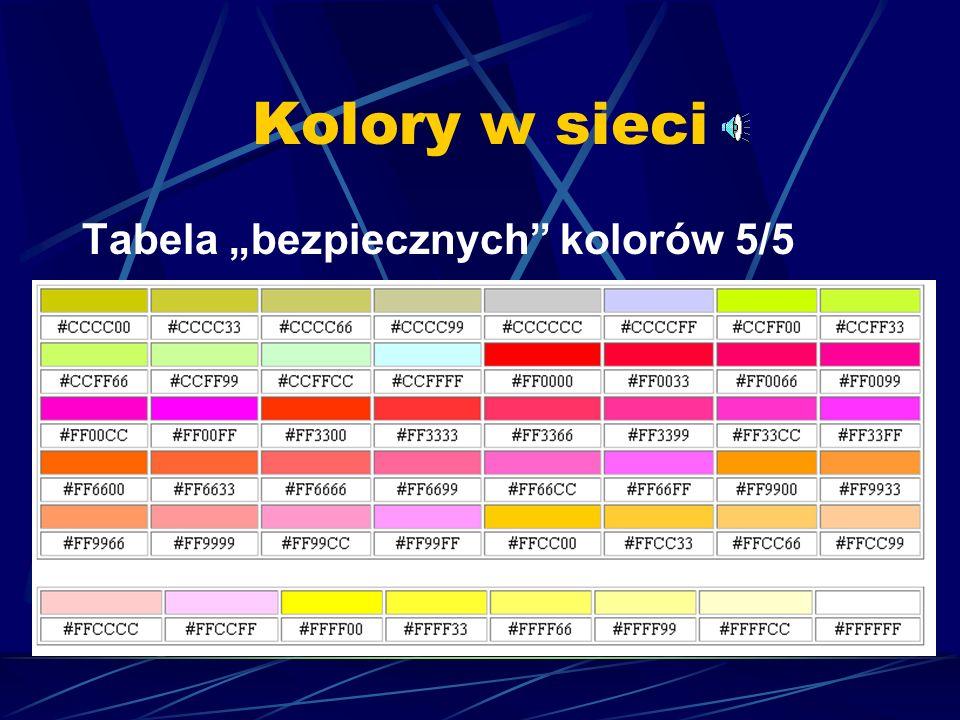Kolory w sieci Tabela bezpiecznych kolorów 4/5