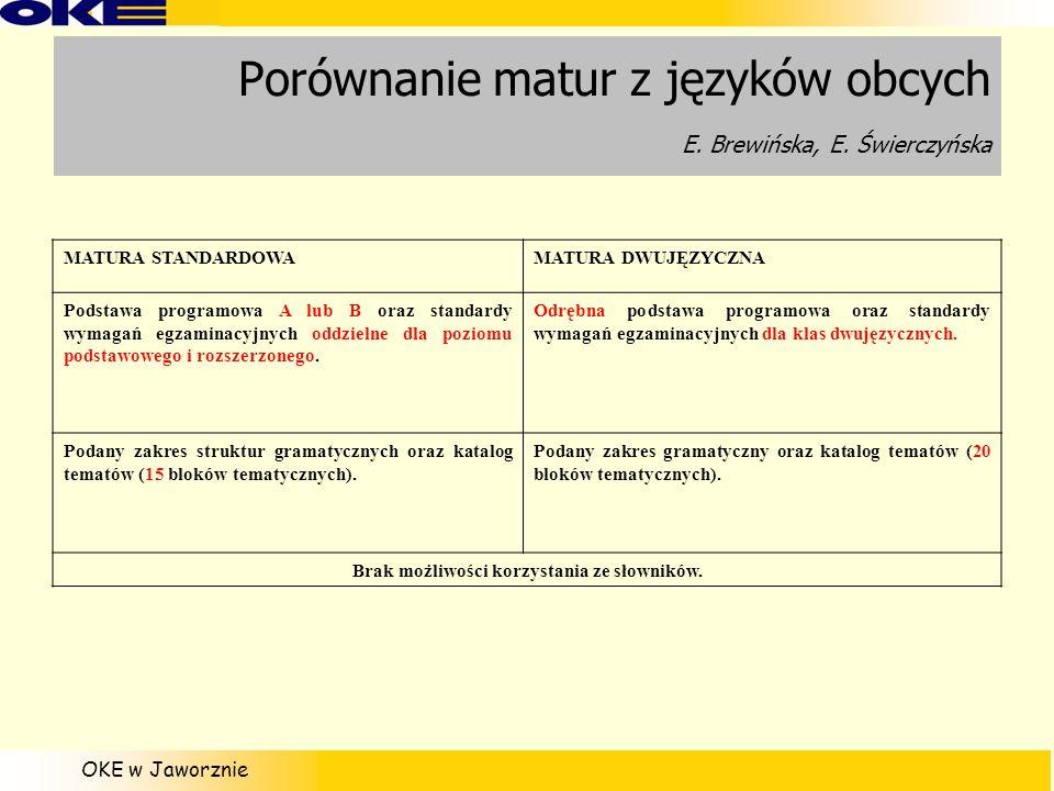 OKE w Jaworznie Porównanie matur z języków obcych E. Brewińska, E. Świerczyńska MATURA STANDARDOWAMATURA DWUJĘZYCZNA Podstawa programowa A lub B oraz