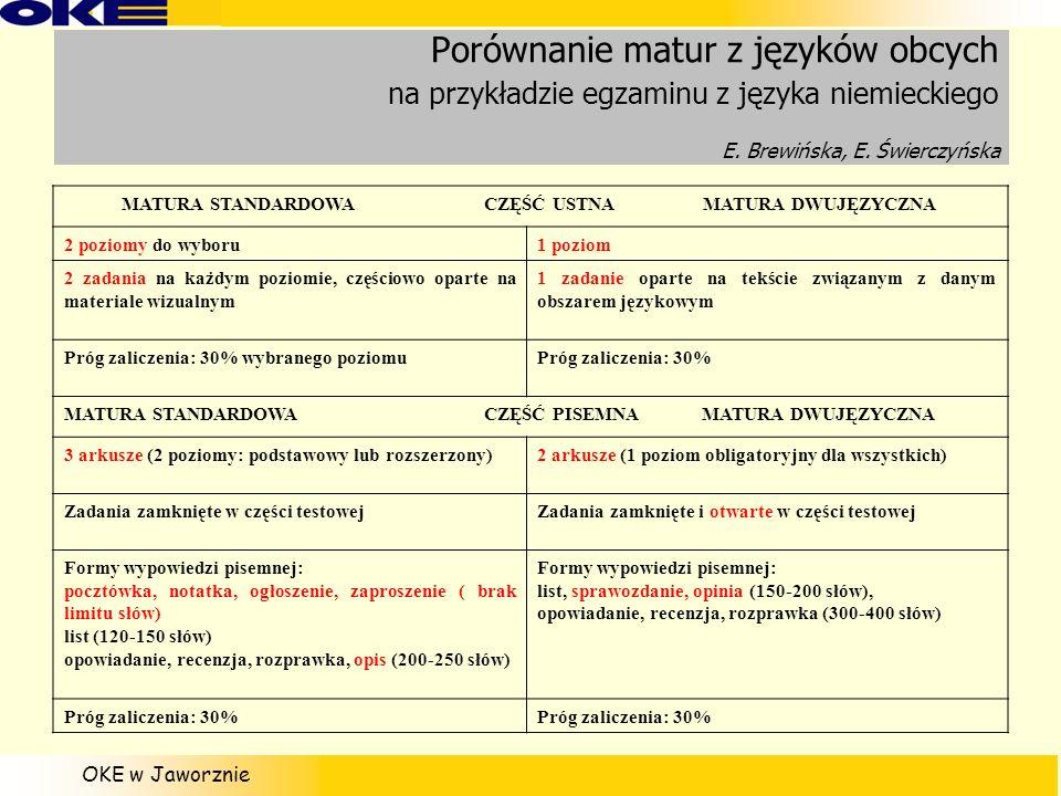 OKE w Jaworznie Porównanie matur z języków obcych na przykładzie egzaminu z języka niemieckiego E. Brewińska, E. Świerczyńska MATURA STANDARDOWA CZĘŚĆ
