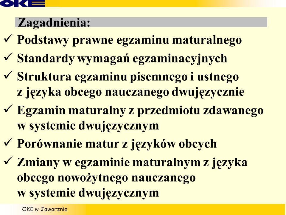 OKE w Jaworznie Zagadnienia: Podstawy prawne egzaminu maturalnego Standardy wymagań egzaminacyjnych Struktura egzaminu pisemnego i ustnego z języka ob