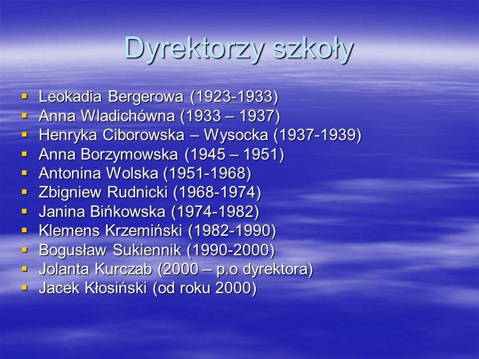 Dyrektorzy szkoły Leokadia Bergerowa (1923-1933) Leokadia Bergerowa (1923-1933) Anna Wladichówna (1933 – 1937) Anna Wladichówna (1933 – 1937) Henryka