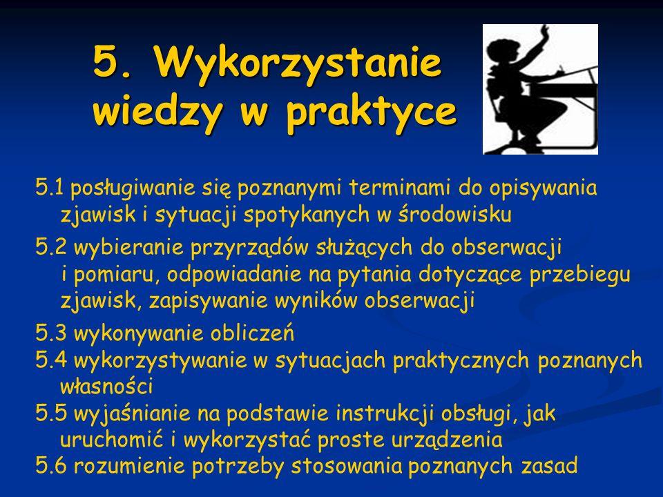 5. Wykorzystanie wiedzy w praktyce 5. Wykorzystanie wiedzy w praktyce 5.1 posługiwanie się poznanymi terminami do opisywania zjawisk i sytuacji spotyk