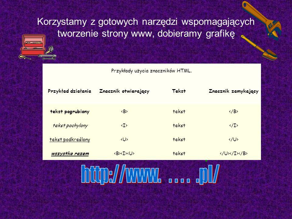 Korzystamy z gotowych narzędzi wspomagających tworzenie strony www, dobieramy grafikę Przykłady użycia znaczników HTML.