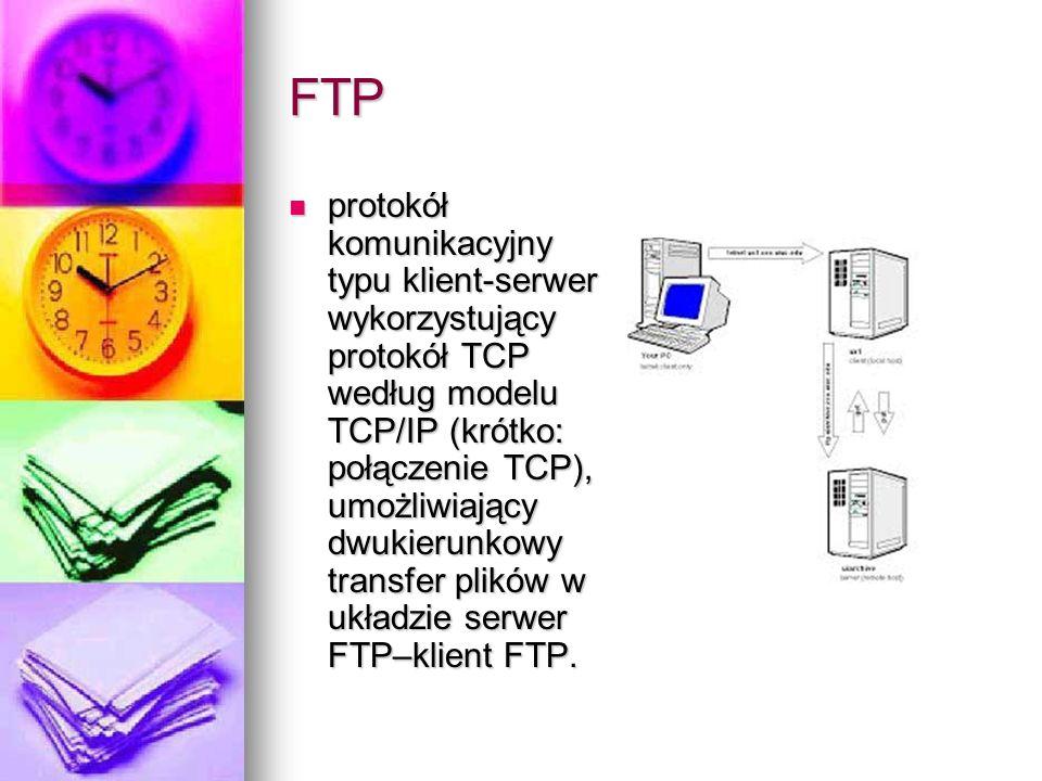 FTP protokół komunikacyjny typu klient-serwer wykorzystujący protokół TCP według modelu TCP/IP (krótko: połączenie TCP), umożliwiający dwukierunkowy t