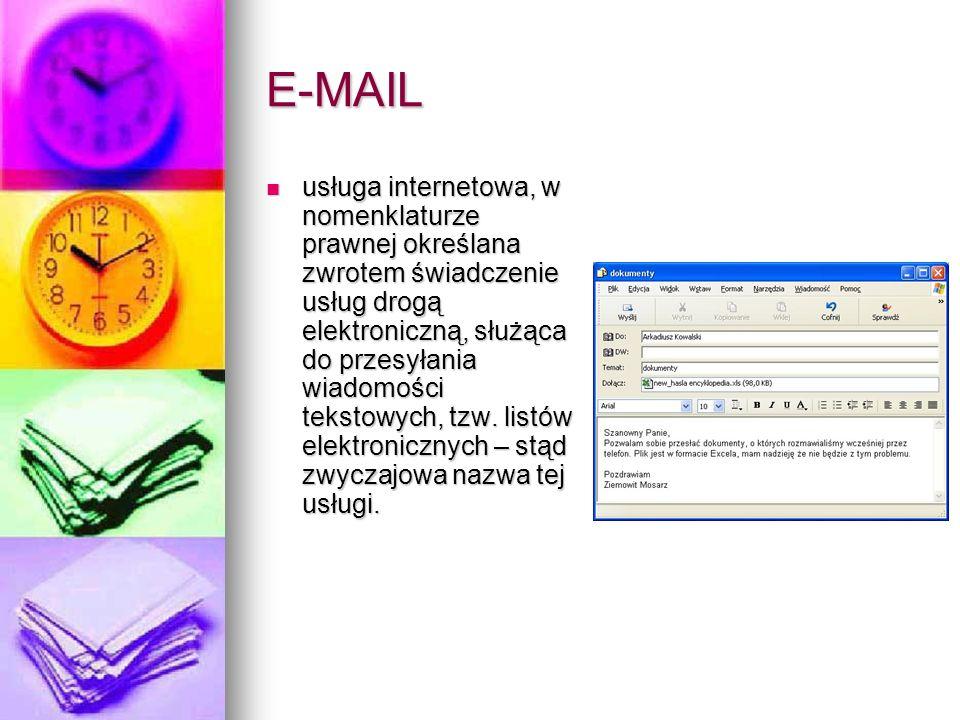 E-MAIL usługa internetowa, w nomenklaturze prawnej określana zwrotem świadczenie usług drogą elektroniczną, służąca do przesyłania wiadomości tekstowy