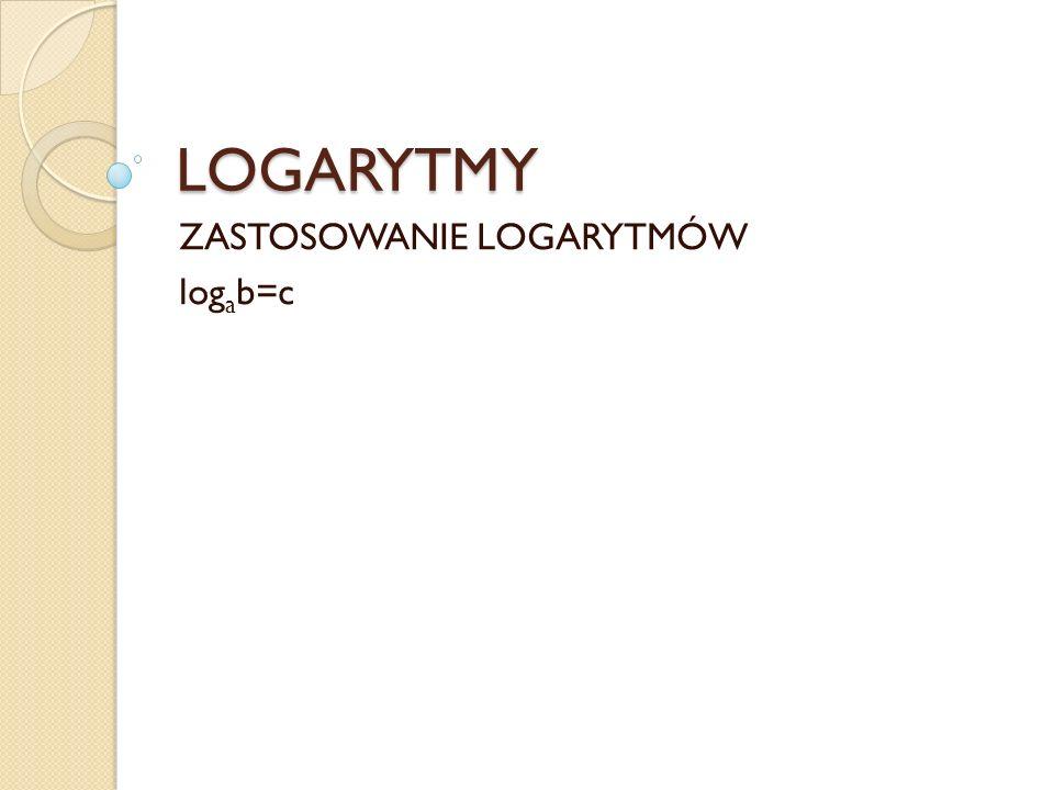 Logarytm przy podstawie a z liczby, zapisywany to taka liczba, że podstawa podniesiona do potęgi daje logarytmowaną liczbę.
