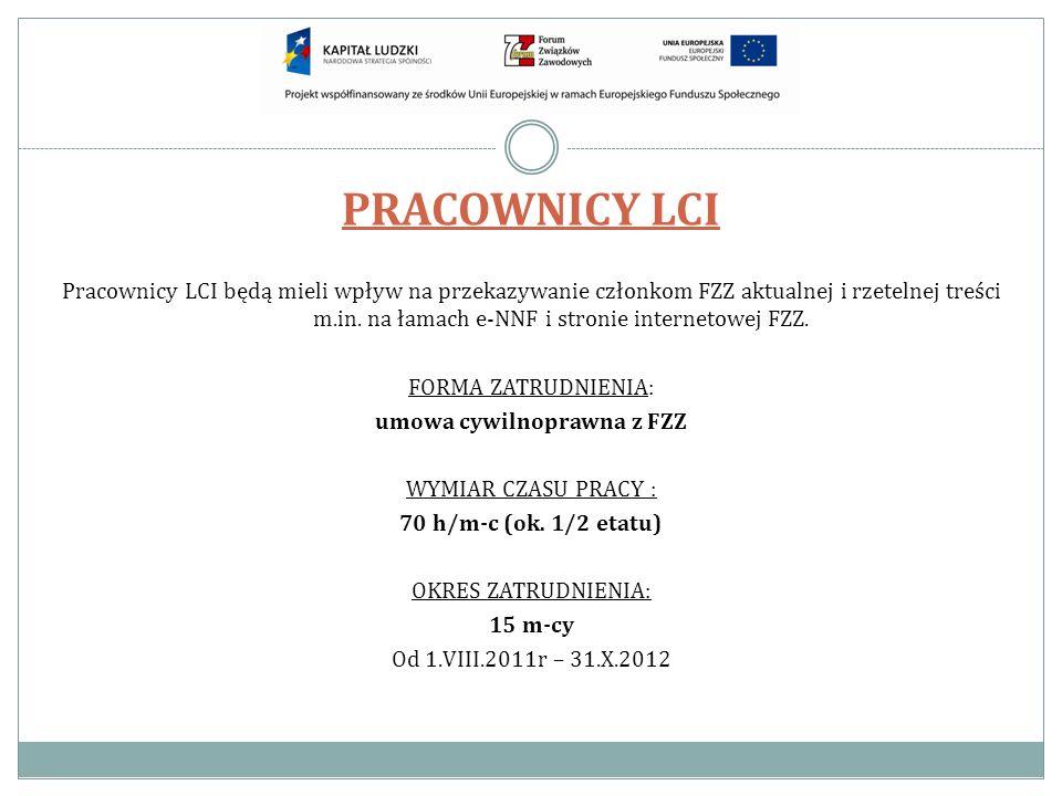 PRACOWNICY LCI Pracownicy LCI będą mieli wpływ na przekazywanie członkom FZZ aktualnej i rzetelnej treści m.in. na łamach e-NNF i stronie internetowej