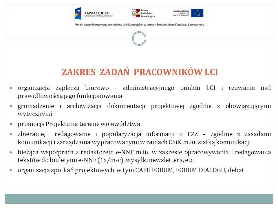 ZAKRES ZADAŃ PRACOWNIKÓW LCI organizacja zaplecza biurowo - administracyjnego punktu LCI i czuwanie nad prawidłowością jego funkcjonowania gromadzenie