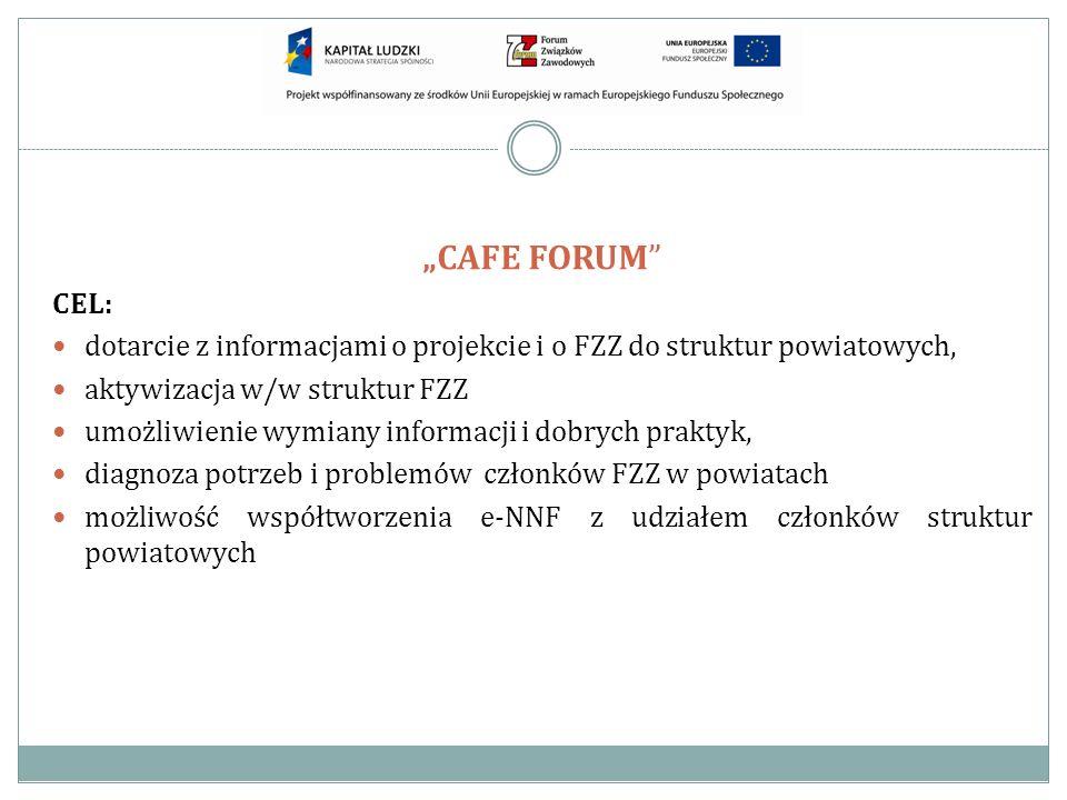 CEL: dotarcie z informacjami o projekcie i o FZZ do struktur powiatowych, aktywizacja w/w struktur FZZ umożliwienie wymiany informacji i dobrych prakt