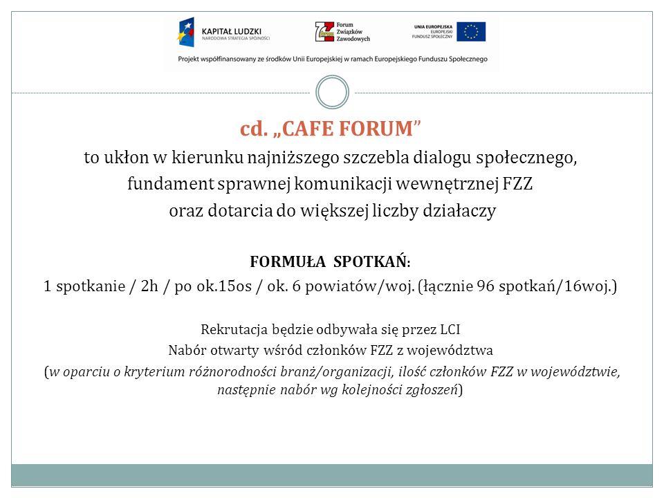 cd. CAFE FORUM to ukłon w kierunku najniższego szczebla dialogu społecznego, fundament sprawnej komunikacji wewnętrznej FZZ oraz dotarcia do większej