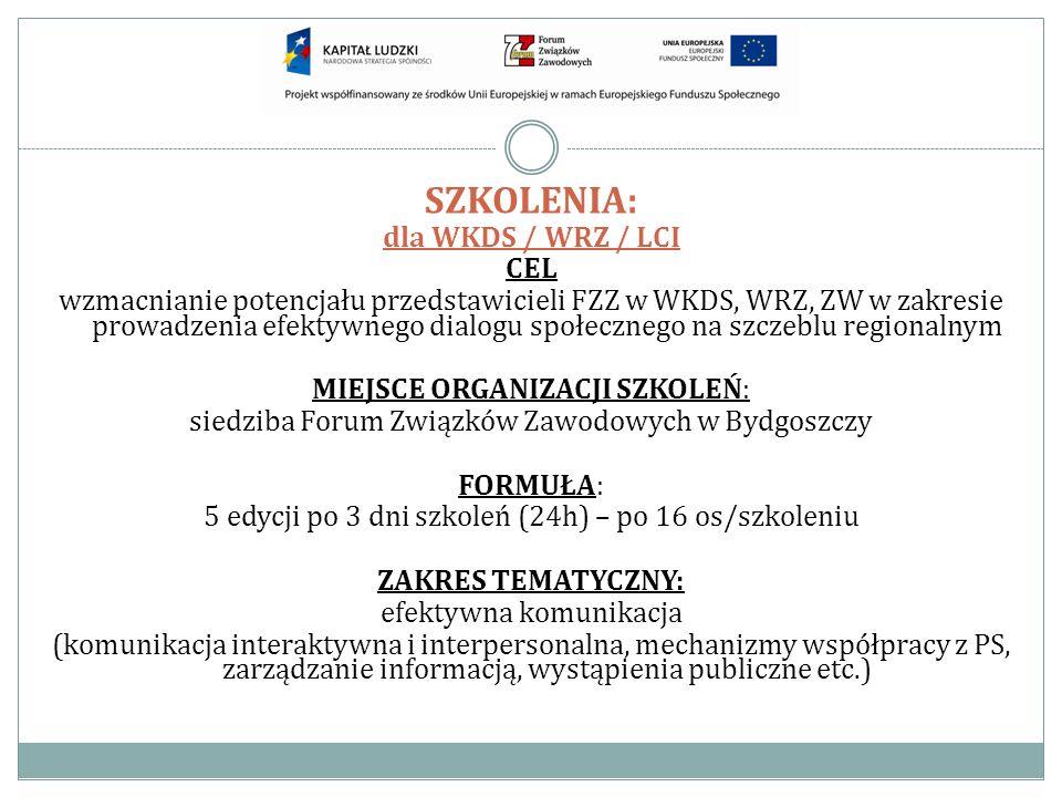 SZKOLENIA: dla WKDS / WRZ / LCI CEL wzmacnianie potencjału przedstawicieli FZZ w WKDS, WRZ, ZW w zakresie prowadzenia efektywnego dialogu społecznego