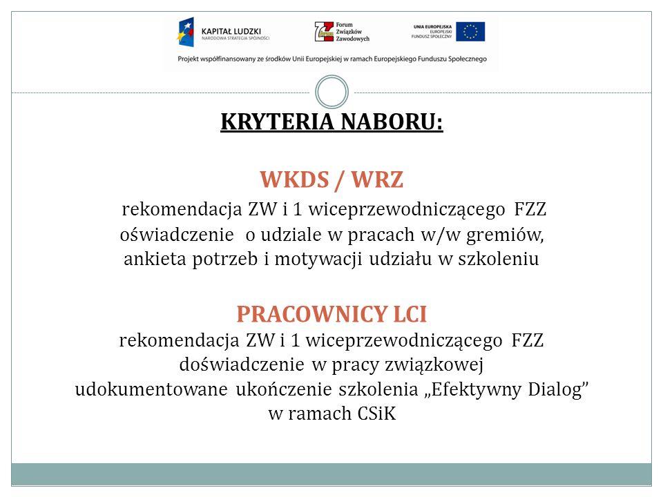KRYTERIA NABORU: WKDS / WRZ rekomendacja ZW i 1 wiceprzewodniczącego FZZ oświadczenie o udziale w pracach w/w gremiów, ankieta potrzeb i motywacji udz