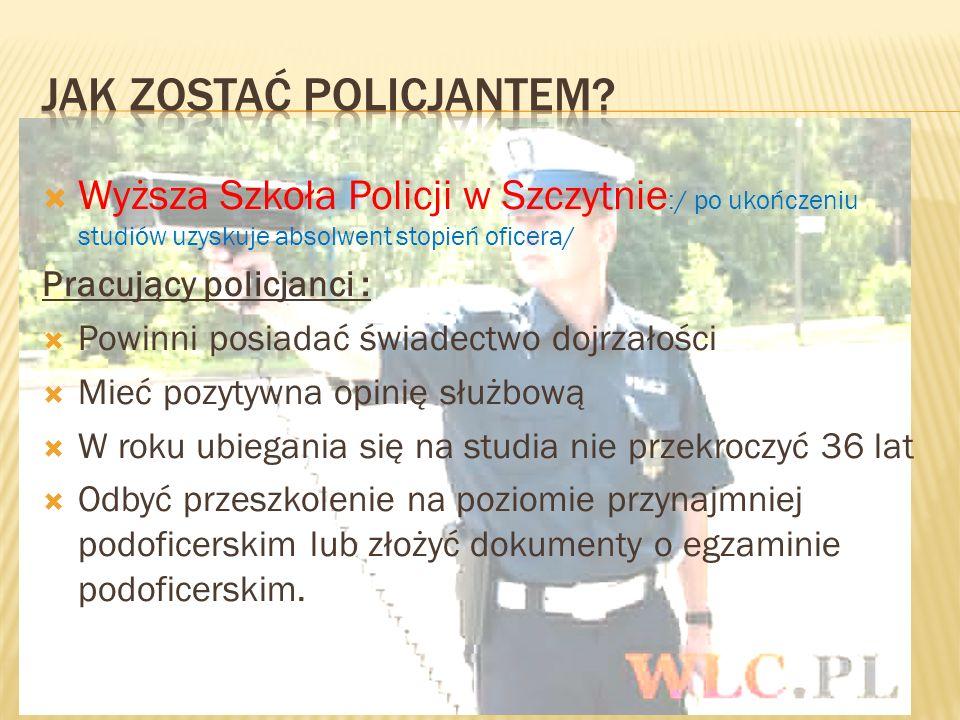 Wyższa Szkoła Policji w Szczytnie :/ po ukończeniu studiów uzyskuje absolwent stopień oficera/ Pracujący policjanci : Powinni posiadać świadectwo dojr