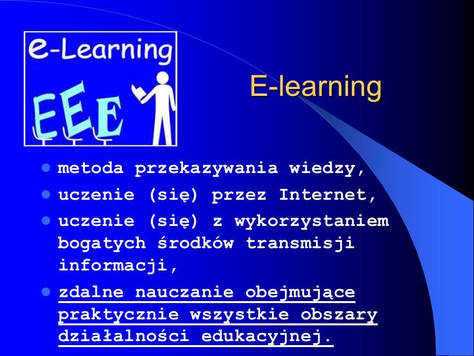 Założenia e-learningu: oddzielenie ucznia od nauczyciela w czasie i przestrzeni, zapewnienie swobodnej, dwustronnej komunikacji między uczestnikami procesu kształcenia.