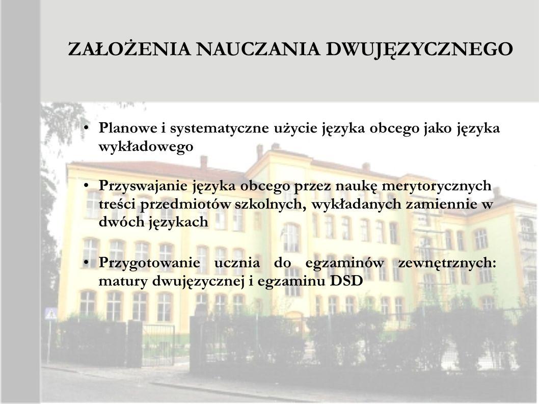 ZAŁOŻENIA NAUCZANIA DWUJĘZYCZNEGO Planowe i systematyczne użycie języka obcego jako języka wykładowego Przyswajanie języka obcego przez naukę merytory