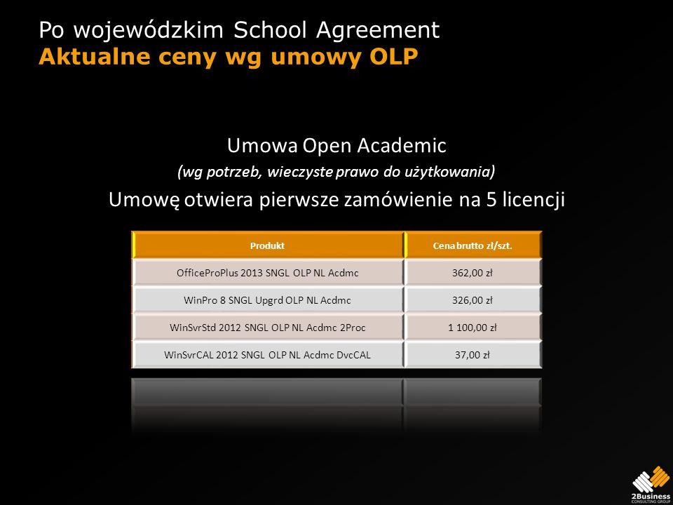 Po wojewódzkim School Agreement Aktualne ceny wg umowy OLP Umowa Open Academic (wg potrzeb, wieczyste prawo do użytkowania) Umowę otwiera pierwsze zam