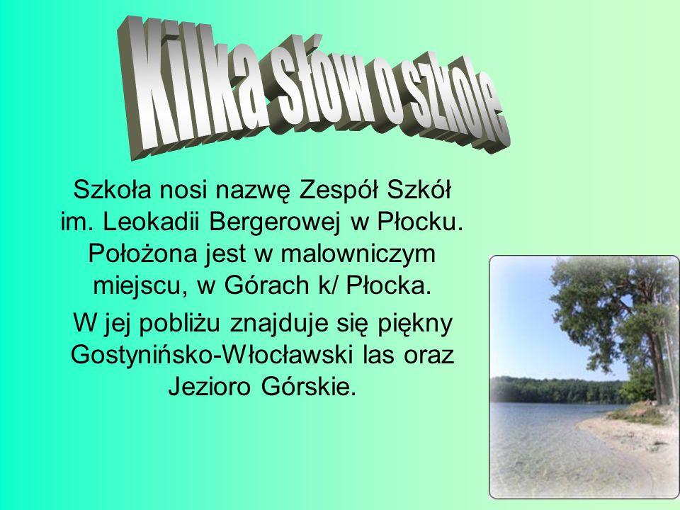 Szkoła nosi nazwę Zespół Szkół im. Leokadii Bergerowej w Płocku. Położona jest w malowniczym miejscu, w Górach k/ Płocka. W jej pobliżu znajduje się p