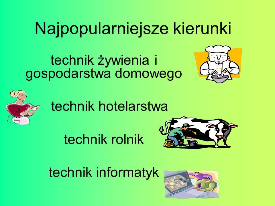 Najpopularniejsze kierunki technik żywienia i gospodarstwa domowego technik hotelarstwa technik rolnik technik informatyk