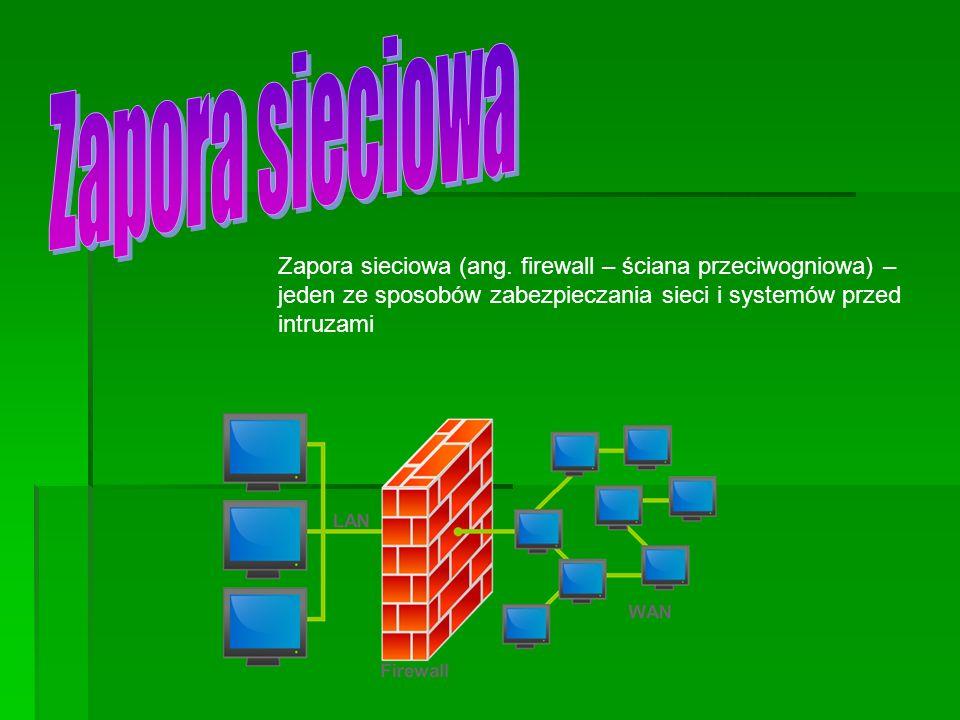 Zapora sieciowa (ang. firewall – ściana przeciwogniowa) – jeden ze sposobów zabezpieczania sieci i systemów przed intruzami