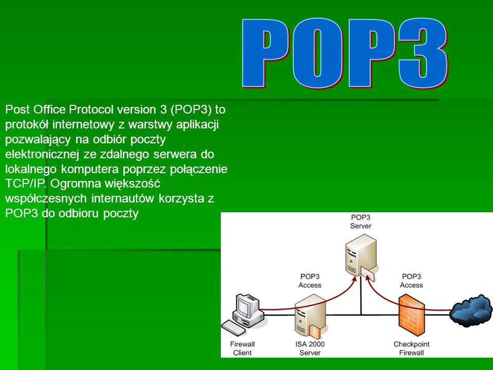 Post Office Protocol version 3 (POP3) to protokół internetowy z warstwy aplikacji pozwalający na odbiór poczty elektronicznej ze zdalnego serwera do lokalnego komputera poprzez połączenie TCP/IP.