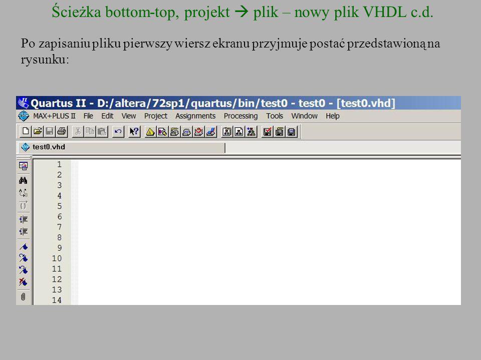 Ścieżka bottom-top, projekt plik – nowy plik VHDL c.d. Po zapisaniu pliku pierwszy wiersz ekranu przyjmuje postać przedstawioną na rysunku: