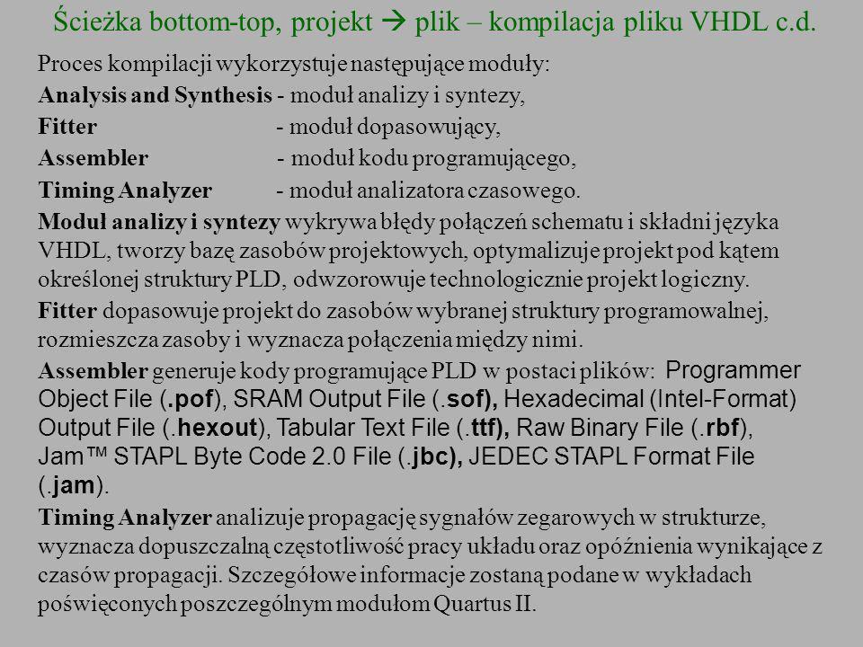 Ścieżka bottom-top, projekt plik – kompilacja pliku VHDL c.d. Proces kompilacji wykorzystuje następujące moduły: Analysis and Synthesis - moduł analiz