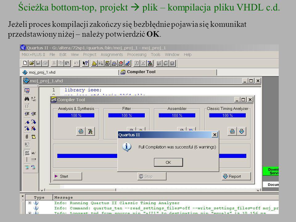 Ścieżka bottom-top, projekt plik – kompilacja pliku VHDL c.d. Jeżeli proces kompilacji zakończy się bezbłędnie pojawia się komunikat przedstawiony niż